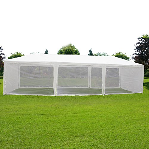 Quictent 10X30 Outdoor Canopy Gazebo Party Wedding Tent Screen House Sun Shade Shelter with Fully Enclosed Mesh Side Wall (10'x30', White) ()