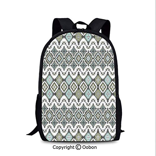 - Backpack, Arabesque Geometric Pattern with Fractal Square Shapes Line Culture, School Bag :Suitable for Men and Women, School, Travel, Daily use, etc.Sage Green Seafom