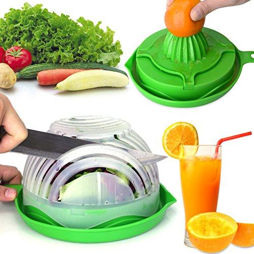 WEBSUN Salad Cutter Bowl with Lemon Squeezer Salad Maker, Easy Speed Salad Maker Fruit Vegetable Cutter Bowl Fast Fresh Salad Slicer