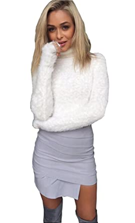 08b3dbcdf4d Longwu Women's Fashion Fluffy Mohair Midriff-baring Jumper Knit Crop Top  Sweater White