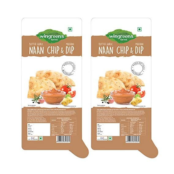 Wingreens Farms Butter Garlic Naan Chips + Makhani Dip (Pack of 2)