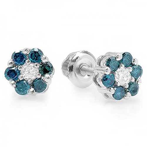 0.40 Carat (ctw) 10K White Gold White & Blue Round Cut Diamond Cluster Flower Stud Earrings