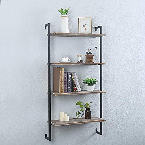 GWH Industrial Metal and Wood Wall Shelf Unit,Rustic Floating Wood Shelves Wall Mounted,24in Iron Real Reclaimed Wood… 5
