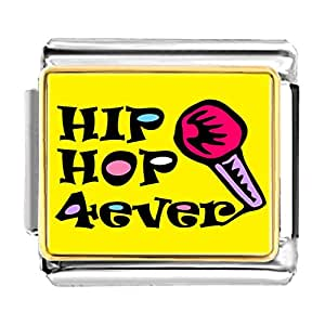 Chicforest Gold Plated Music Hip Hop Forever Bracelet Link Photo Italian Charm Bracelets