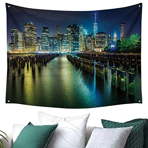 WilliamsDecor New York Tapestry for Bedroom Pier Pilings and Manhattan Skyline at Night Downtown Urban East River Gift for Picnic/Beach 72W x 54L Inch Dark Blue Green -