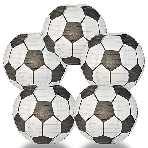 Quasimoon PaperLanternStore.com (5-Pack) Soccer Ball/Futbol Paper Lantern Hanging Decoration