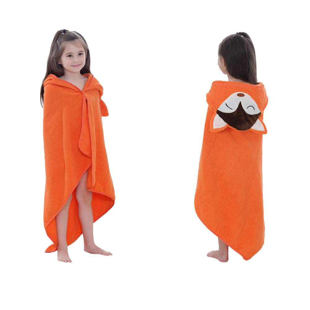 DURUI Hooded Animal Towel 0 to 5 Years Old Kids and Toddlers 100% Premium Cotton Ultra Soft, Super Absorbent, Use for Bath/Pool/Beach Times 90X90CM (Orange Fox)