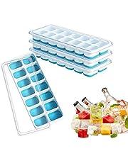 4 Pcs Ice Cube Bandejas para cubitos de hielo, CoWalkers moldes para cubitos de hielo, bandejas de hielo de fácil liberación, sin BPA, no tóxicos y seguros, apilables y duraderos (Azul)
