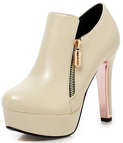 195e0264526 Summerwhisper Women s Sexy Plain Round Toe Booties with Zipper Chunky High  Heel Platform OL Ankle Boots