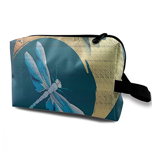 Wodehous Adonis Retro Dragonfly And Moon Large Travel Cosmetic Pouch Bag Storage Bags Portable With Zipper