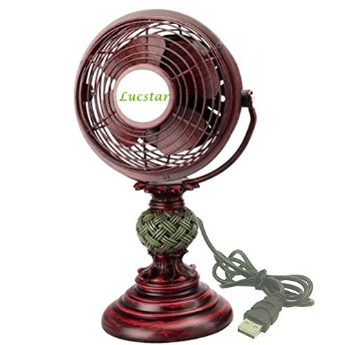 Lucstar Retro USB Fans Personal Vintage Table Desk Art Decoration for Office Home Bedroom Business Gift, Quiet Design 4 Inch