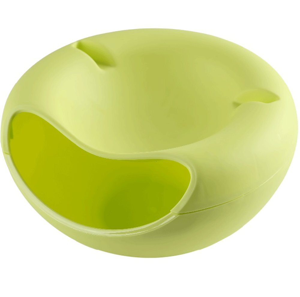 Daycount Pack of 2 Smiley Nut Bowl Multifunctional Plastic Double Layer Dry Fruit Containers Snacks Seeds Storage Box Garbage Holder Desktops Plate Dish Organizer with Cellphone Holder (Green)