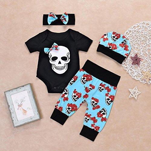 FUNIC-Babys-Clothes-Set-Newborn-Baby-Boys-Girls-Flower-Skull-Romper-JumpsuitPantsCapHeadband-4Pcs-Set