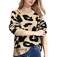 Luxur Stylish Long Sleeve Crew Neck Leopard Sweater (A-khaki)