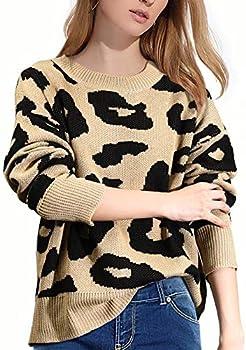 Luxur Stylish Long Sleeve Crew Neck Leopard Sweater
