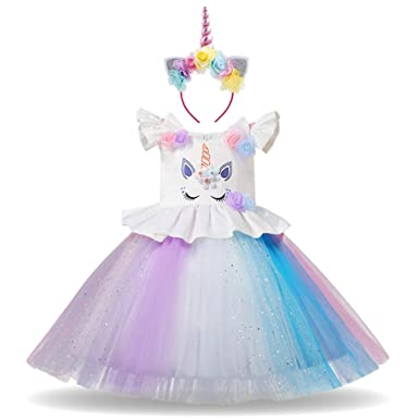 Amazon.com  IMEKIS Girls Cartoon Costume Cosplay Dress Halloween Birthday  Party Outfit Baby Kids Princess Rainbow Tutu Fancy Dress Up  Clothing 029b2e270377