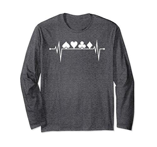 Unisex Poker Heartbeat Card Suit Shirt Long Sleeve Card Player Gift XL: Dark Heather
