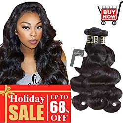 "Puddinghair Body Wave Bundles 16""18""20""-Updated Grade 8A Brazilian Hair-Unprocessed Virgin Brazilian Human Hair Bundles Natural Black Brazilian Human Hair Weft Body Wave Remy Human Hair Weave"