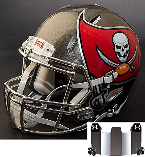 Riddell Speed Tampa Bay Buccaneers NFL Replica Football Helmet with S2BDSP Football Helmet Facemask/Faceguard and Mirrored Eye Shield/Visor (Football Replica Bay Helmet Buccaneers Tampa)