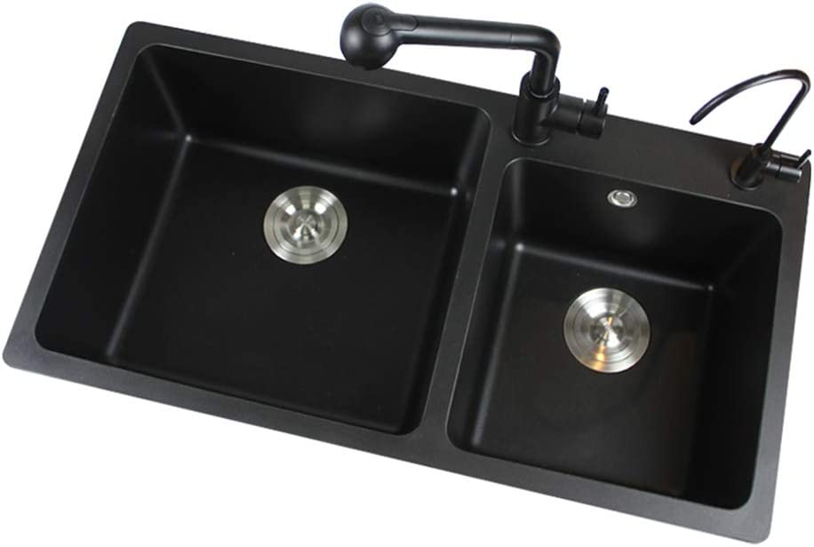 Amazon Com Kitchen Sink Modern Quartz Classic Granite Black Drop In Double Bowl For Undermount Or Top Mount 72 75 78 80 Cm Multiple Sizes Home Kitchen