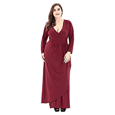 d92be084287 Image Unavailable. Image not available for. Color  EbuyChX Trendy Plunge  Neck Long Sleeve Plus Size Women Maxi Dress ...