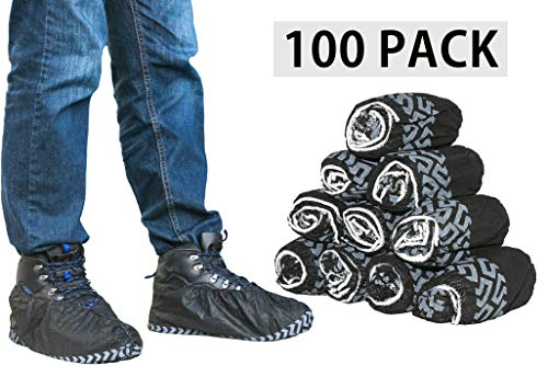 ShoeBoss 100 PACK #1 Non-Slip Black Shoe Covers - Perfect For Realtors & Contractors | Durable - Disposable - Recyclable & Industrial Quality by ShoeBoss (Image #3)