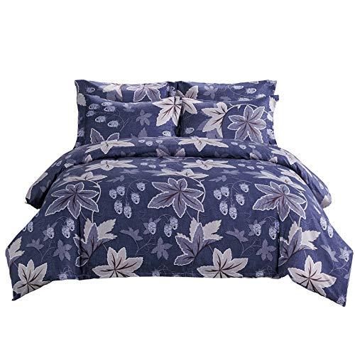 DelbouTree Microfiber Duvet Cover Set,Floral Duvet Cover Set with Corner Ties,Zipper Closure,Blue Quilt Cover Queen 90 by 90 inch