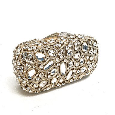 SUNNY KEY-Clutches@Abendtasche PU Metall Ohne Reißverschluss Gold