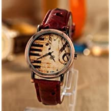 Vintage Piano Music Note Analog Bronze Watch with Leather Strap