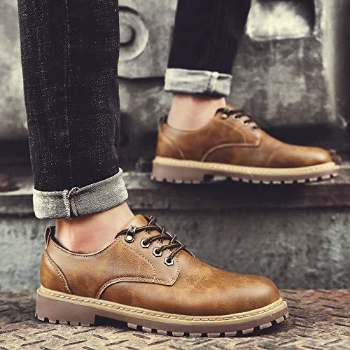 LOVDRAM Stiefel Männer Winter Herrenschuhe Martin Stiefel Herren Niedrige Hilfe Werkzeug Stiefel Outdoor Schuhe Baumwolle Schuhe Retro Verdickung