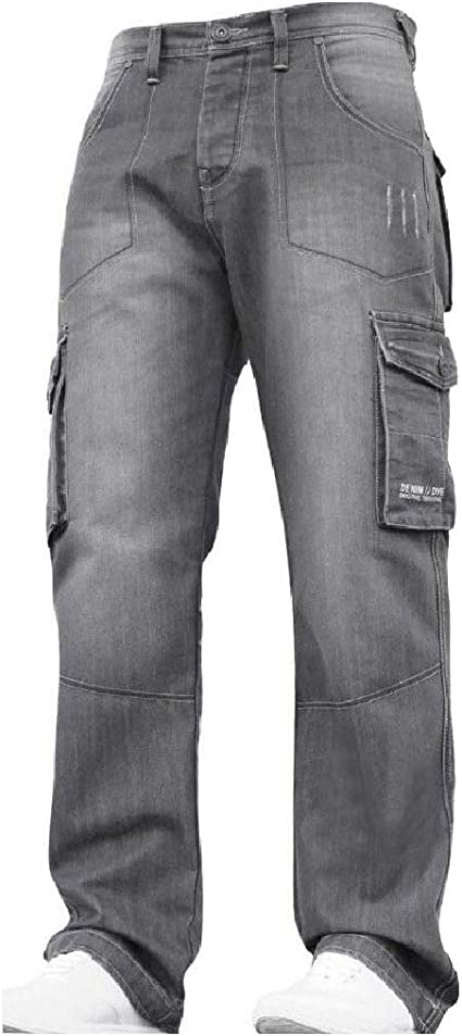 YAXINHE Mens Denim Big & Tall Stonewashed Pockets Relaxed-Fit Straight Jean