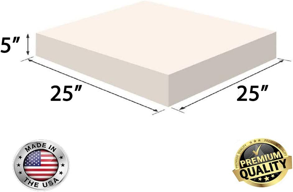 "FoamRush 5"" x 25"" x 25"" Upholstery Foam High Density Firm Foam Soft Support (Chair Cushion Square Foam for Dinning Chairs, Wheelchair Seat Cushion Replacement)"