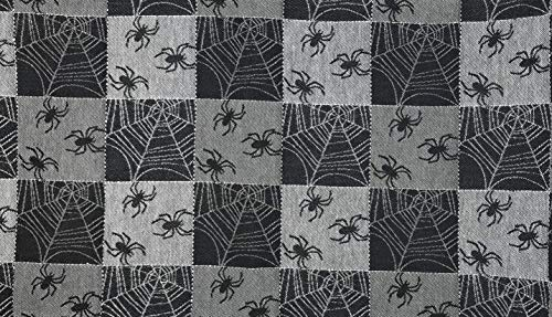 Northeast Home Halloween Themed Jacquard Cotton Table Runner, 36-Inch x 13-Inch (Black Spiders Silver -