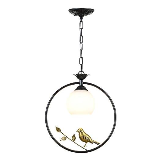 Lámpara de araña Retro Rural Anillo redondo negro American ...