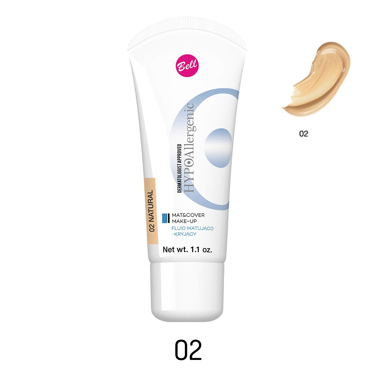 Bell & Concealing Fluid opacizzante e tappetino ipoallergenico cover make-up 02Natural 30g/31, 2gram..