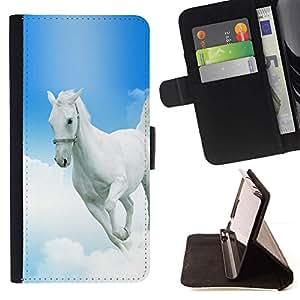 Momo Phone Case / Flip Funda de Cuero Case Cover - Mustang Horse azul cielo Dios cristiano Blanca - Motorola Moto E ( 2nd Generation )
