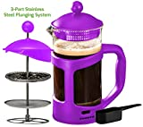 Ovente French Press Cafetière Coffee and Tea Maker, Heat-Resistant Borosilicate Glass, 34 oz (1005 ml), 8 cup, Purple (FPT34P), FREE Measuring Scoop