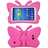 Tab 4 Case,Tab 3 Case,Kids Friendly Non-toxic Safe Light Weight Butterfly Shockproof EVA Foam Cover Stand for Samsung Galaxy Tab 7.0 inch Tablet PC - Hot Pink