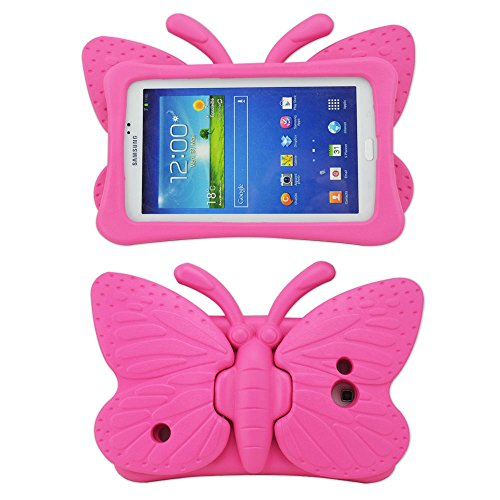 (Tab 4 Case,Tab 3 Case,Kids Friendly Non-toxic Safe Light Weight Butterfly Shockproof EVA Foam Cover Stand for Samsung Galaxy Tab 7.0 inch Tablet PC - Hot Pink)