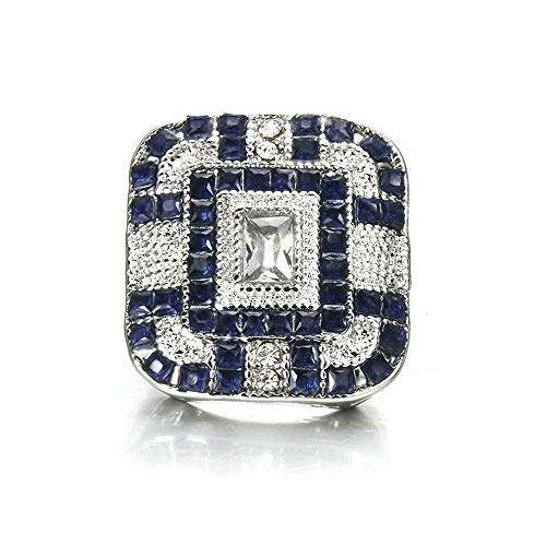 - Monowi Lady 925 Silver Ring Sapphire White Topaz Women Wedding Engagement Jewelry | Model RNG - 19279 | #10