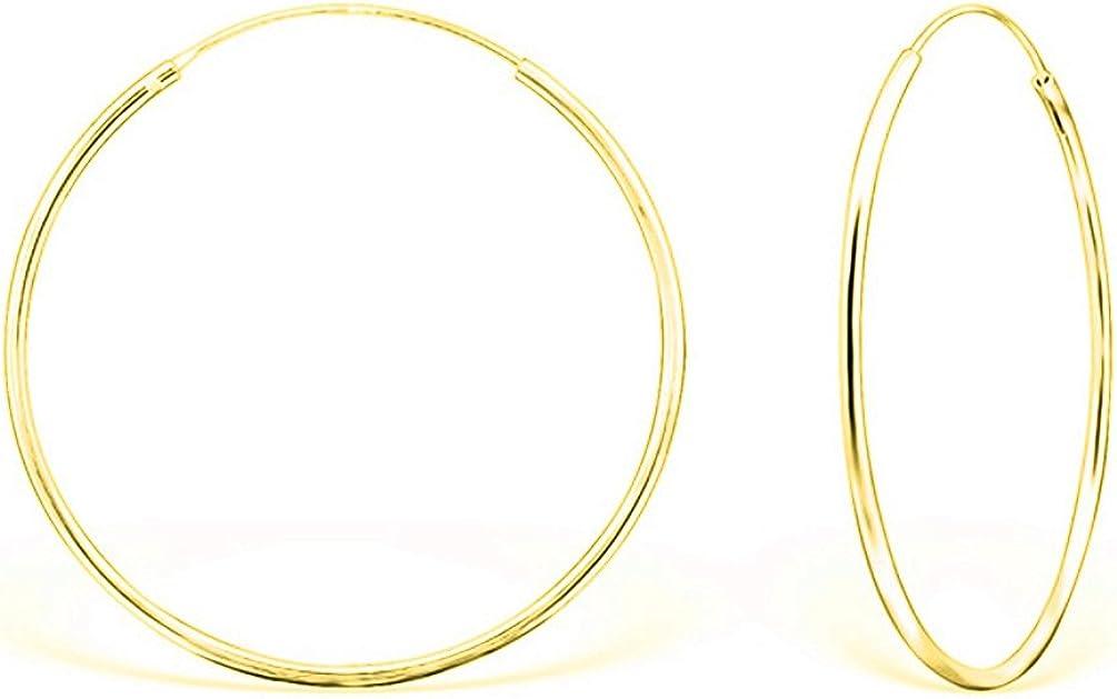 DTP Silver - Pendientes de Aro - Plata 925, Plateada en Oro Amarillo o Rosa - Espesor 1.2 mm, Diámetro 40 mm