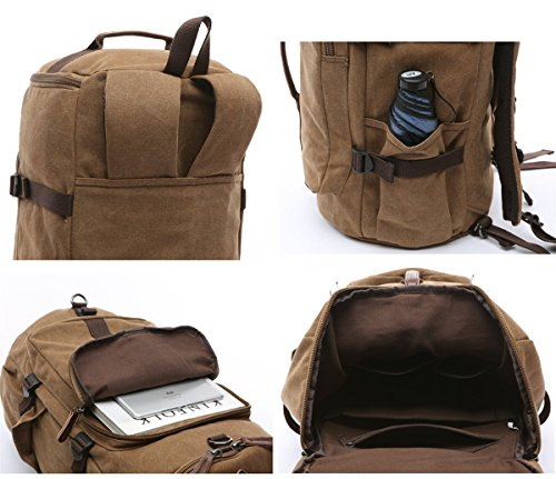 BAOSHA HB-26 3-Ways Vintage Canvas Men Holdall Weekend Travel Duffel Bag Backpack Messenger Shoulder Bags Convertible Travel Hiking Rucksack Weekender Overnight Bag Handbag (Black) by Baosha (Image #5)
