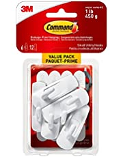 Command Utility Hooks Value Pack, Small, White, 6 Wall Hooks 12 Small Strips (17002C-VP)