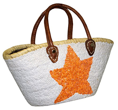 Capazo Bolso Pequeño Lentejuelas Palma Blanco Estrella Naranja