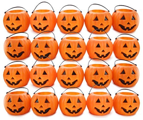 Jack O-lantern Buckets - 24 Mini Pumpkins Candy Holder Buckets Halloween Pack with 2.5