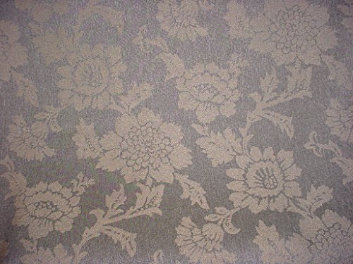 - 109RT3 - Gray Graphite Peat Green Flowering Branch Linen Damask To the Trade / Designer Upholstery Drapery Fabric - By the Yard