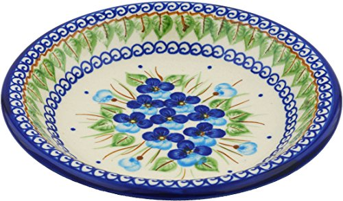 Polish Pottery 9-inch Pasta Bowl (Blue Pansy Theme) + Certificate of Authenticity