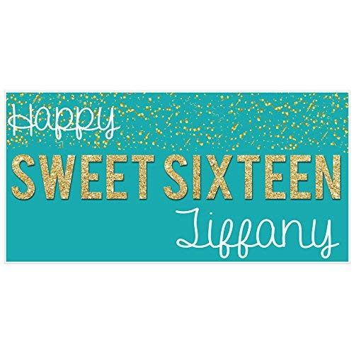 Sweet Sixteen 16 Teal and Gold Birthday Banner Personalized Party Backdrop (Zebra And Teal Party Supplies)
