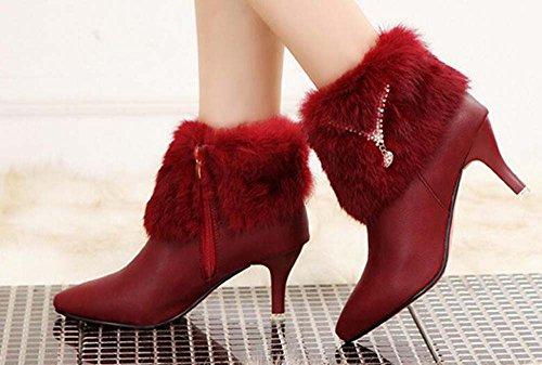 Naughtyangel Women's Pointed Toe Stiletto Heel Zip Ankle Boot with Rabbit Fur Wine D2m8jsBGE