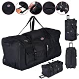 36'' Rolling Wheeled Tote Duffle Bag Carry On Luggage Travel Suitcase Black Durable Material And Solid Construction Great Volume Capacity
